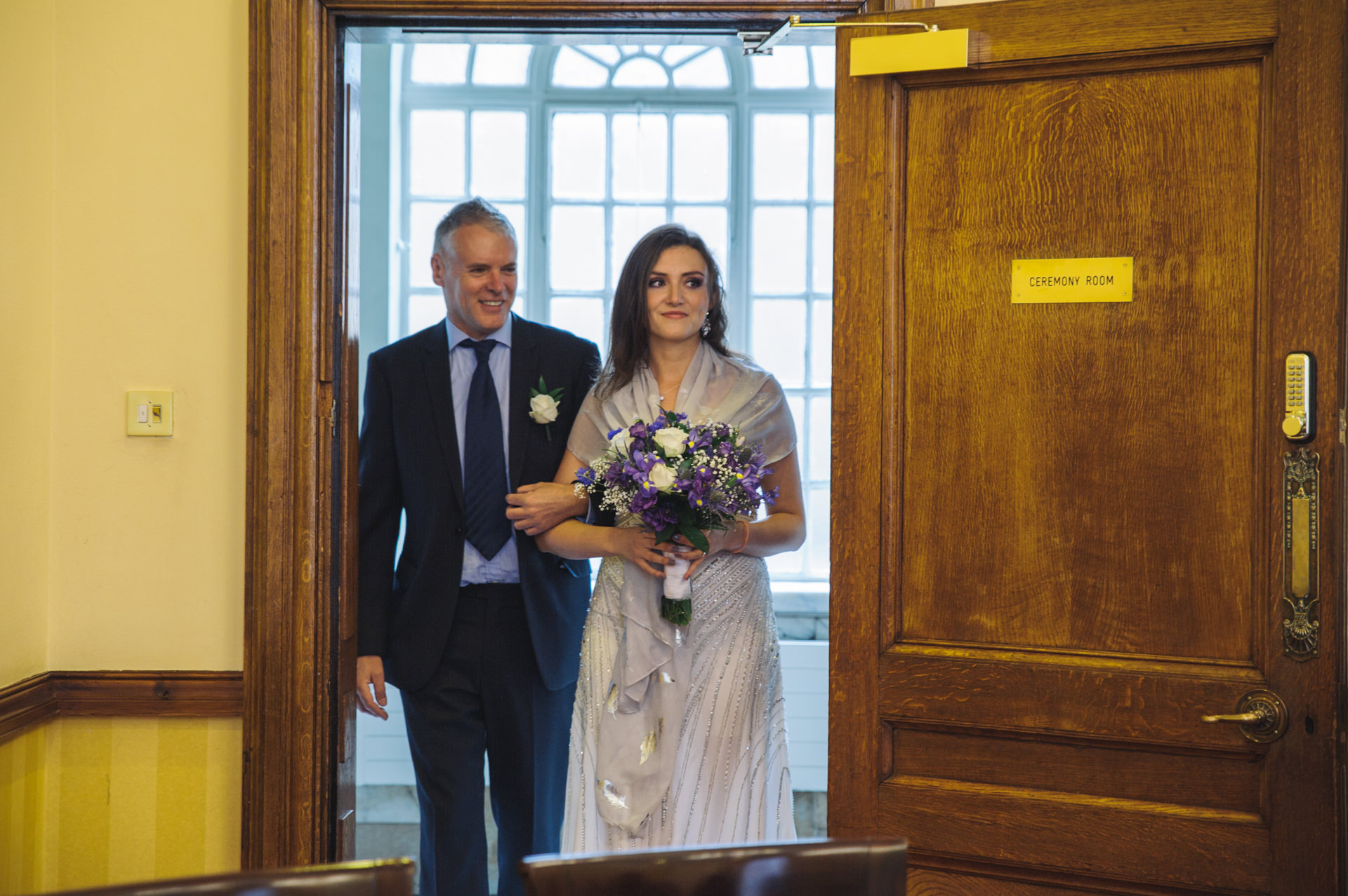 islington town hall wedding bride and her father