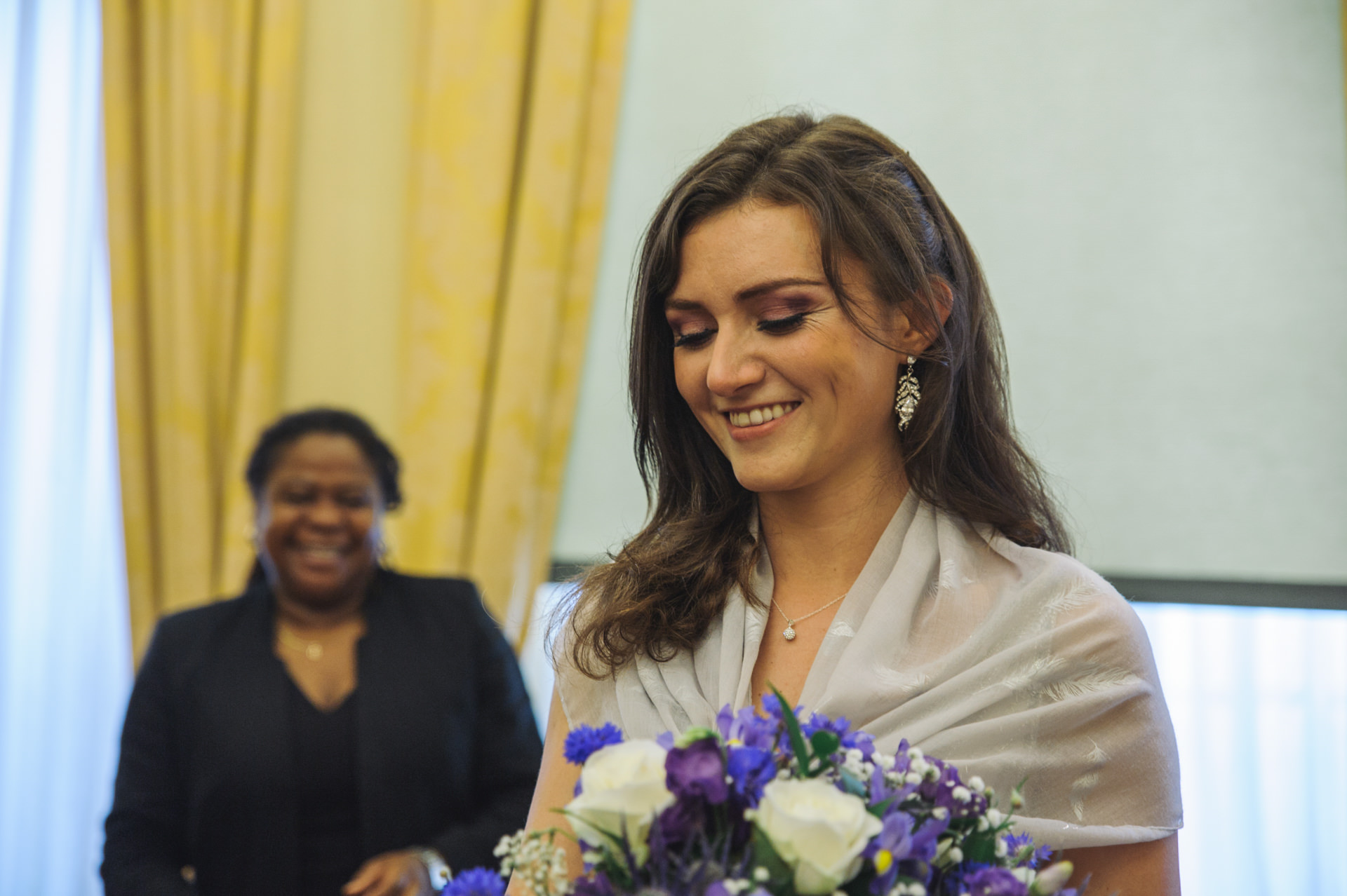 islington town hall wedding bride smiling