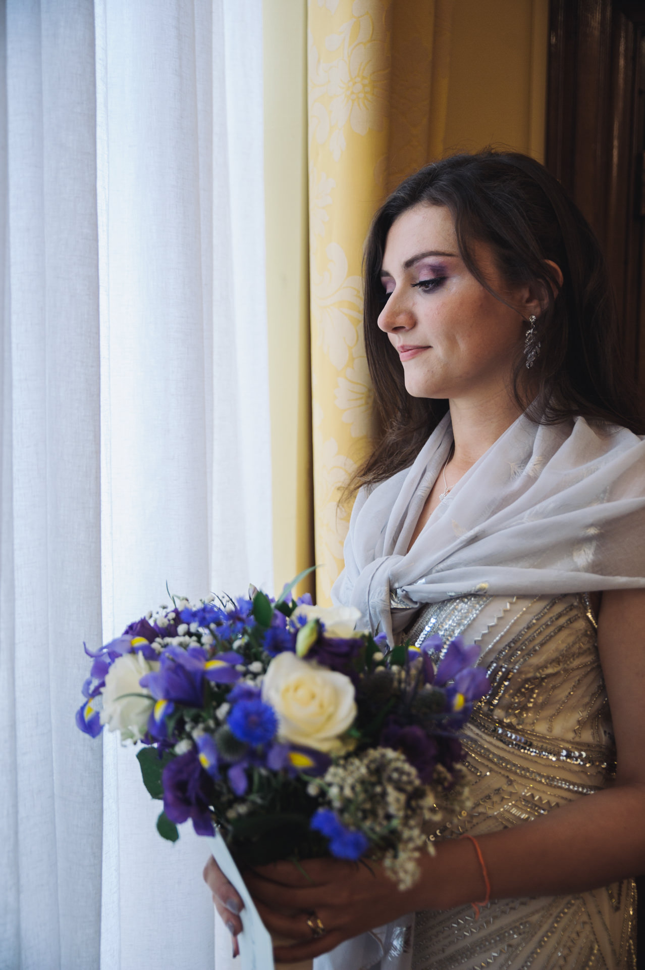 islington town hall wedding bride portrait by the window