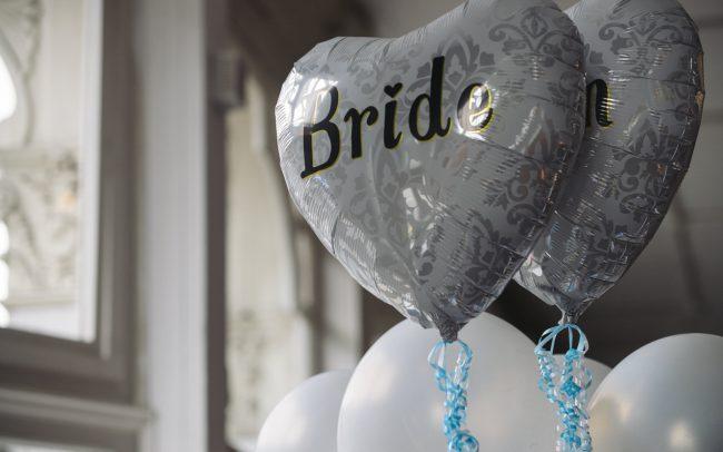 bride and groom heart shaped balloons islington london