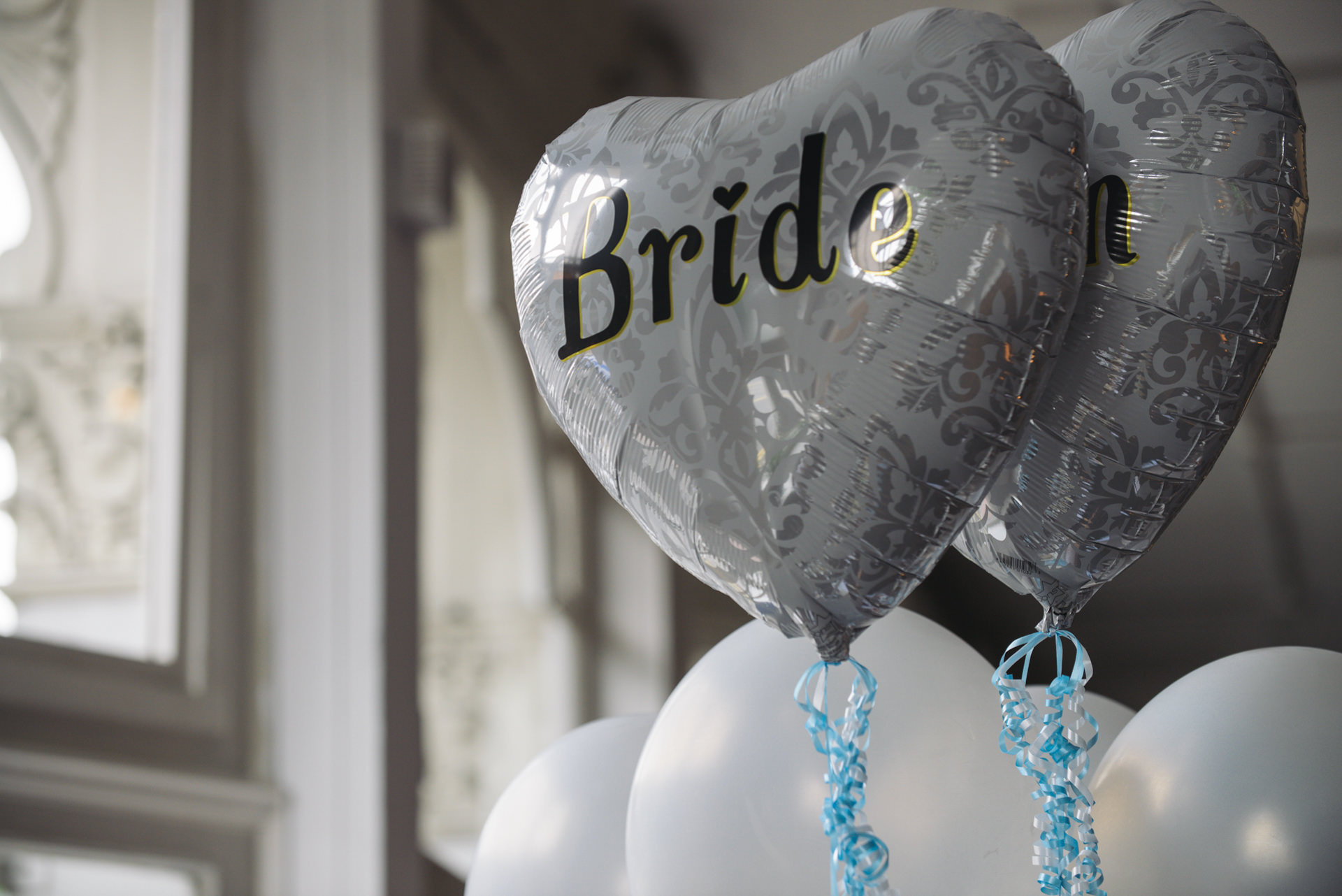 bride and groom heart shaped balloons islington london