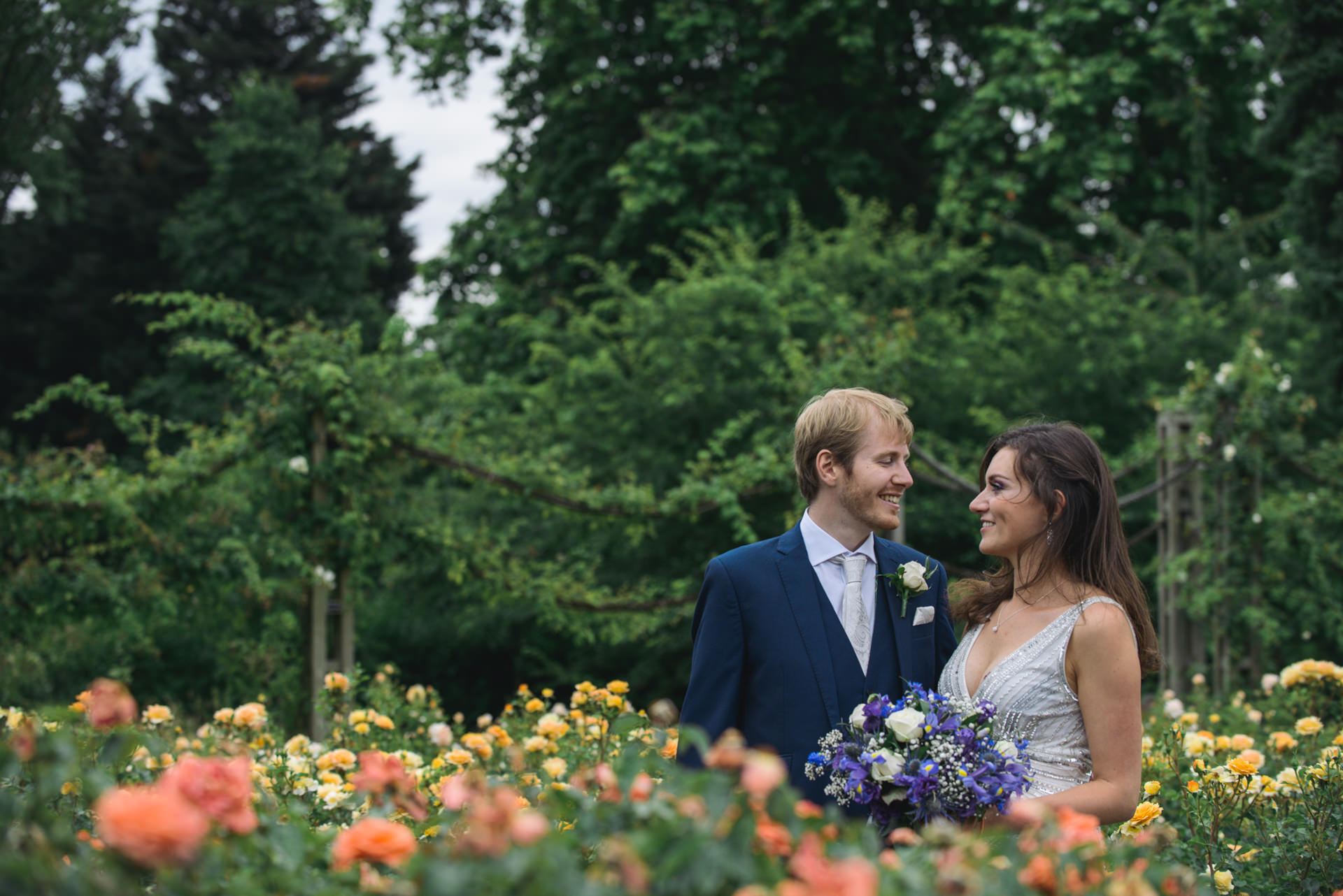 Regents park London wedding couple portrait